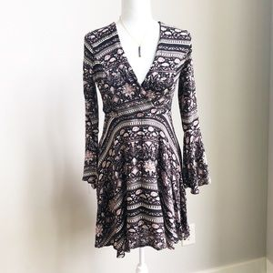 Altar'd State Boho Dress with Flare Sleeves